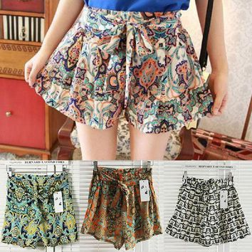 Hot Women's lady Retro Elastic Shorts Chiffon Floral Printed High Waist Loose Skirts Shorts