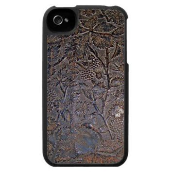 Old Tooled Leather iPhone Case from Zazzle.com