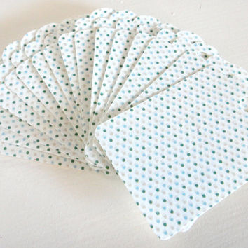 Gift Tags white blue polka dots Set of 16