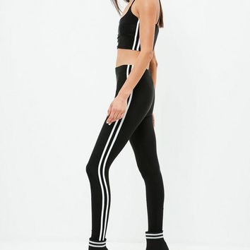 Missguided - Carli Bybel x Missguided Black Stripe Slinky Leggings