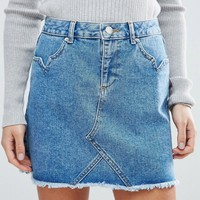 Miss Selfridge Petite Mini Denim Skirt at asos.com