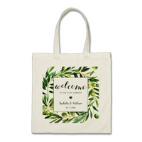 Elegant Olive Boho Garden Wedding Welcome Favour Tote Bag
