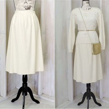 Vintage 70s cream wool skirt  / 1970s  Evan-Picone  / high waisted / off white / ivory / A line / Evan Picone / union label / size S 5 / 6