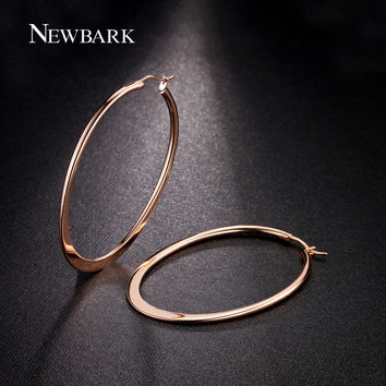NEWBARK 18k Rose Gold Plated Huge Oval Hoop Earrings Basket Ball Wives Earring Jewelry For Valentine's Day Party