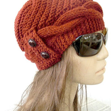 Hand Knit  Hat- winter hat - Womens hat  Cloche hat  in  Rust Orange  Winter Accessories  Fall Autumn Winter  Fashion Christmas