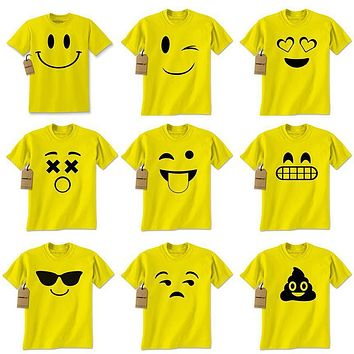 Womens Emoji Smiley Face Emoticon T-shirt Collection Halloween Costume