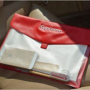 Supreme Popular Women Men Personality File Storage Bag Retro Simple Folder Paper Bag A4 Paper Transparent Bag Folder I