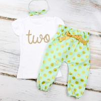 Girls 2nd Birthday Outfit | Mint and Gold Polka Dots High Waisted Pants w/ Gold 'Two' and Knotted Headband