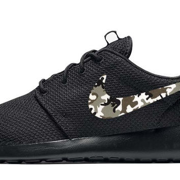 Nike Roshe One + Hand Customized Camo Print Swoosh - Black/Black