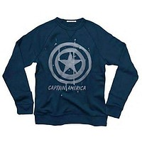 Junk Food Mens Captain America Tried and True Crewneck Fleece