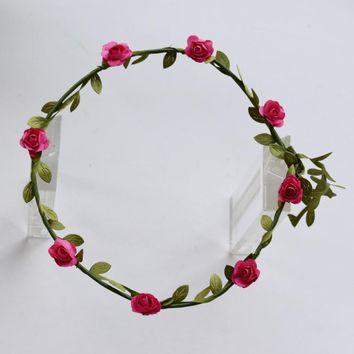 Korean Wreath Flower Crown Wedding Garland Headband Women Forehead Hair Accessories Beach Holiday Party Photo Hair Band Hairband