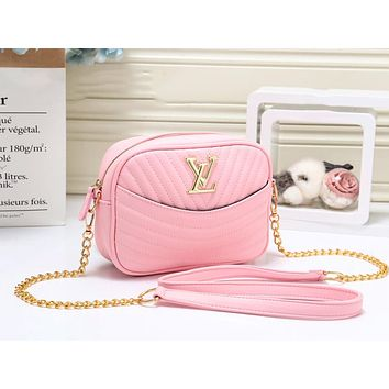 LV Louis Vuitton New fashion leather chain shoulder bag women Pink