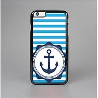 The Vector Navy Anchor with Blue Stripes Skin-Sert for the Apple iPhone 6 Skin-Sert Case