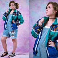 SALE vtg 80s 90s green purple windbreaker, vintage jacket, blue teal, soft grunge, 1990s  activewear athletic, tumblr, vaporwave, aesthetic