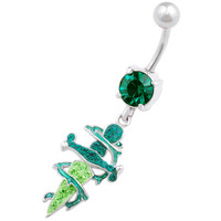 Urban Designs Thorn Dagger Dangle Peridot Crystal Belly Button Ring For Girls [Gauge: 14G - 1.6mm / Length: 10mm] 316L Surgical Steel & Crystal
