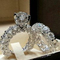 luxury silver wedding engagement rings for women promise couple rings vintage crown crystal zircon love heart finger jewelry