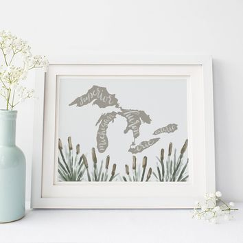 Great Lakes Map Art Print