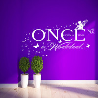 Once Upon a time in Wonderland Wall Sticker Fairy Butterflies Kids Bedroom Mural 100x55