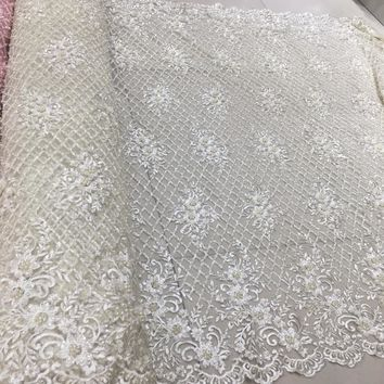 Pure white 3d heavy handmade beads embroidery lace fabric