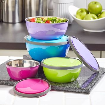 8-Pc. Colorful Stainless Steel Bowl Set Nesting Storage Lids
