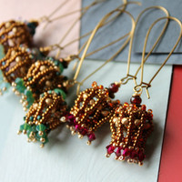 Choose yours  -  Jeweled beaded earrings with garnet, Chrysoprase or ocean Jasper -long dangly statement earrings - Jeweled Pod