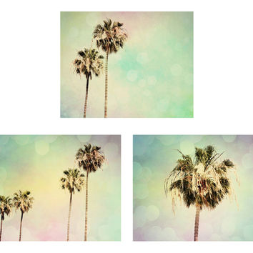 Palm Tree Photography Set - Beach House decor - Pastel photos - Wall Print Collection - Modern Photographs - Palm Trees Photo Set - 3 photos