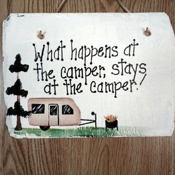 Camping sign,  campsite lot, family name, add pet, what happens at camper stays at camper