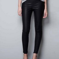 Black Color Cotton and PU Leather Patchwork Leggings Size XS [665]