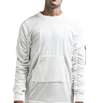 KOLLAR CLOTHING THE HAXTON RUCHED PULLOVER WHITE