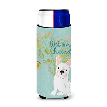 Welcome Friends White French Bulldog Michelob Ultra Hugger for slim cans BB7635MUK