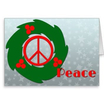 Peace with Holly Wreath Greeting Card