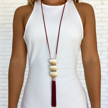 Rebecca Red Fringe Necklace