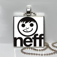 Black and White Skateboard Logo Neff Square Tile Pendant Necklace