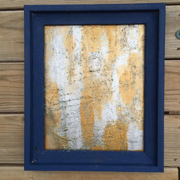 Framed Painting, Framed Art, Abstract Art, Original Painting, Barnwood Frame, Gold Wall Art, Silver Painting, Textured Painting, Modern Art