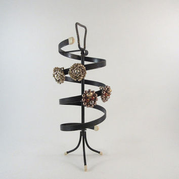 Vintage Earring Stand Mid Century Clip or Screw Back Turning Spiral Footed Black Metal
