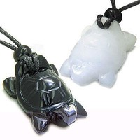 Double Lucky Turtles Love Couples or Best Friends Set Amulets Positive Energy Po