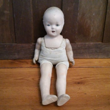 "Vintage Composition Doll With Stuffed Body 17"" Great Collectable Creepy Decor"
