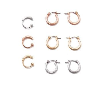 Mini Hoop & Cuff Earring Set