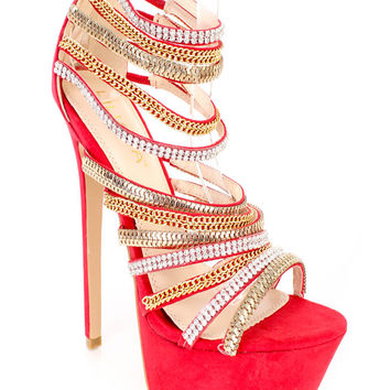Red Chain Rhinestone Strappy Platform 6 Inch High Heels Faux Suede