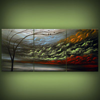 NEW abstract silhouette tree painting dancing clouds by mattsart