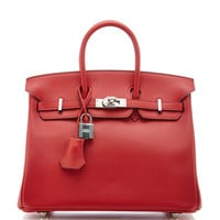 Hermes 25Cm Rouge Pivone Swift Leather Birkin by Heritage Auctions Special Collection - Moda Operandi