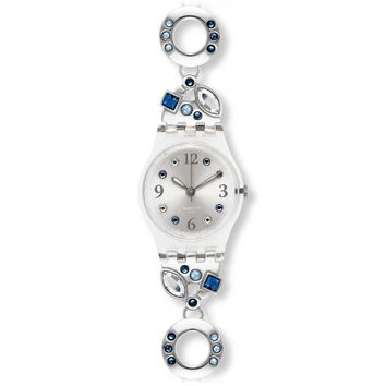 Swatch LK320G Women's Menthol Tone Blue Crystals Stainless Steel Silver Dial Watch