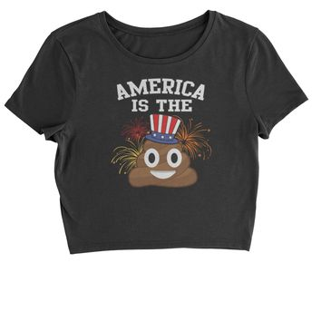 America Is The Poop Emoticon Cropped T-Shirt
