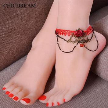 Hot selling Retro Red Lace Rhinestone Flower Anklets Handmade Gothic Bride Wedding Party Ankle Bracelet Accessories