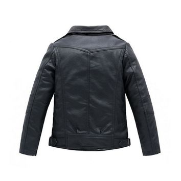 Black And Black Zipper Leather Collection Kid Child Baby Toddler New Born Infant Winter Snow Coat