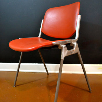 AUTHENTIC Castelli Chairs, Orange-Red Industrial Castelli Chair, Stackable Mid Century Modern Stitched Urethane Seating, Italian Design