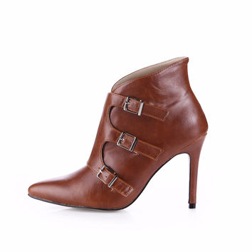 Short Boots 2016 Female Winter New  Boots Size Buckle Camel Pointed High-Heeled Shoes 70887BT-I2