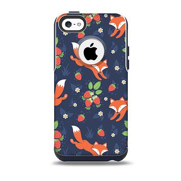 Running Orange & Navy Vector Fox Pattern Skin for the iPhone 5c OtterBox Commuter Case