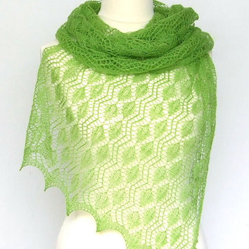 luxury knit lace shawl green merino soft and delicate