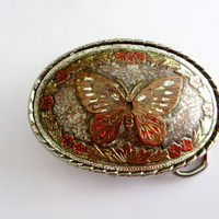 Woman's Belt Buckle Colorful Engraved Butterfly Metal Vntage Collectible Gift Item 2405